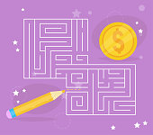 Children's game. Labyrinth Vector. Cartoon. Isolated art Coin Pencil
