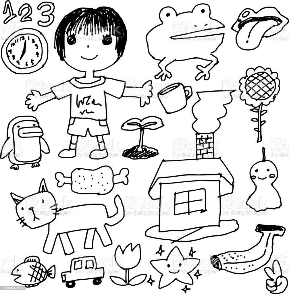 Kinder Graffiti Zeichnen 1 Stock Vektor Art Und Mehr Bilder Von