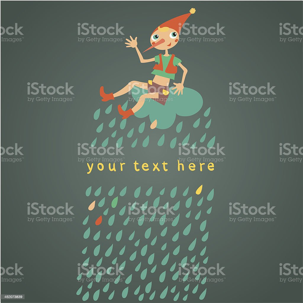 Childrens greeting card. Dark background with drops vector art illustration