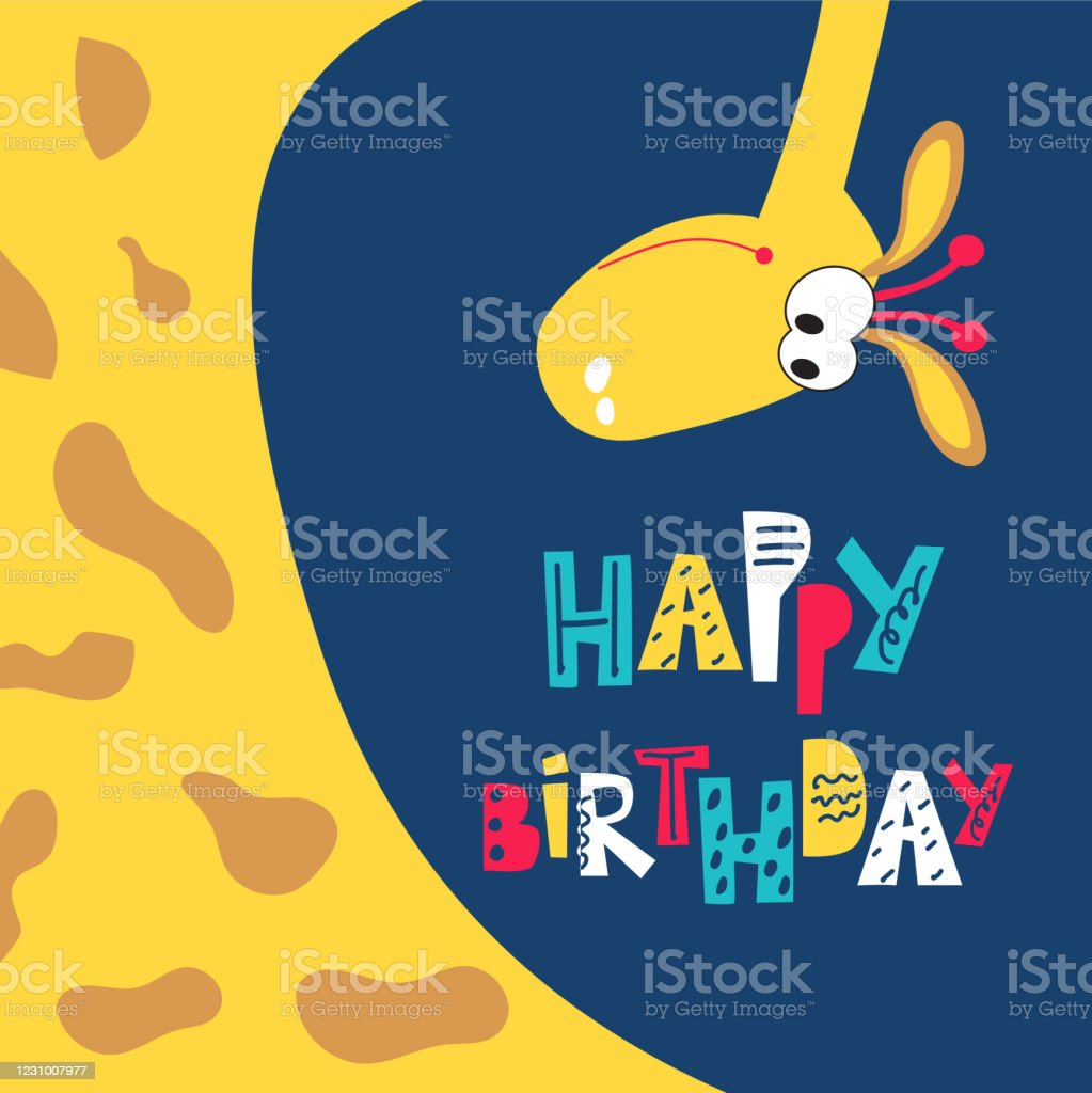 Childrens Greeting Card With A Giraffe Happy Birthday Wishes For Kids Holidays Vector Illustration Stock Illustration Download Image Now Istock