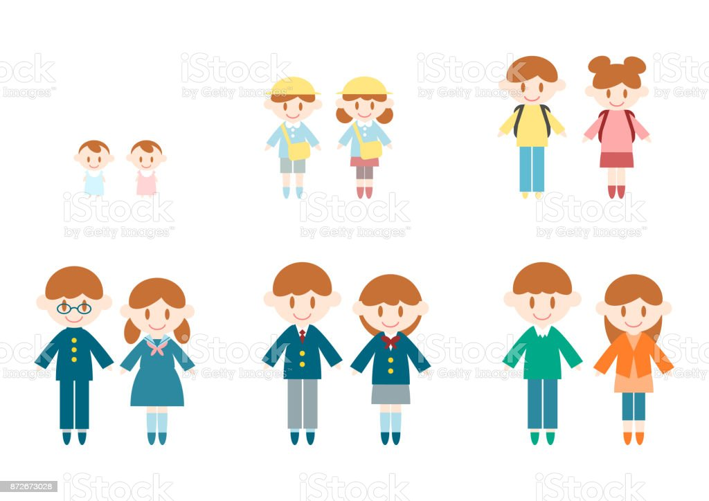 children's growth vector art illustration