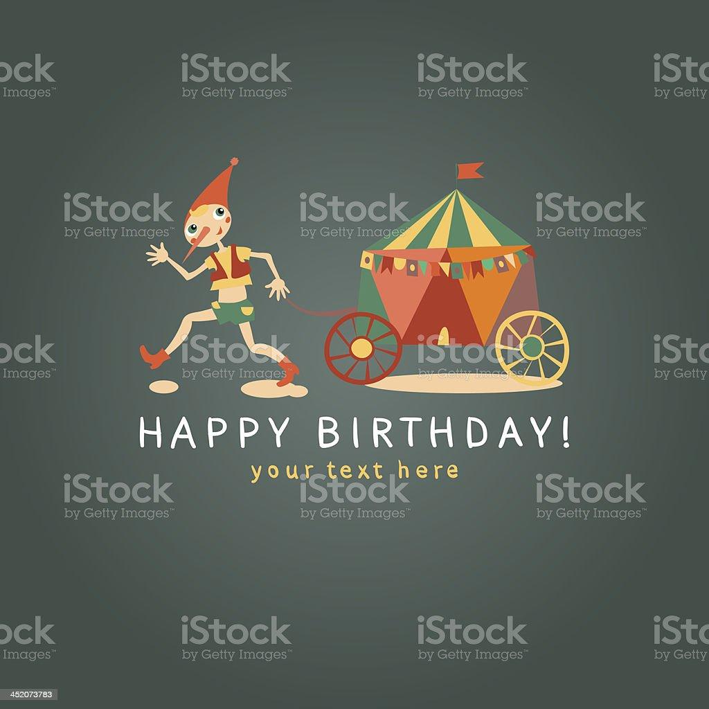 Childrens Happy birthday card. Dark background vector art illustration