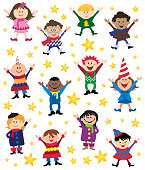 Vector illustrations with a bunch of cute happy Childrens smiling and waving Christmas