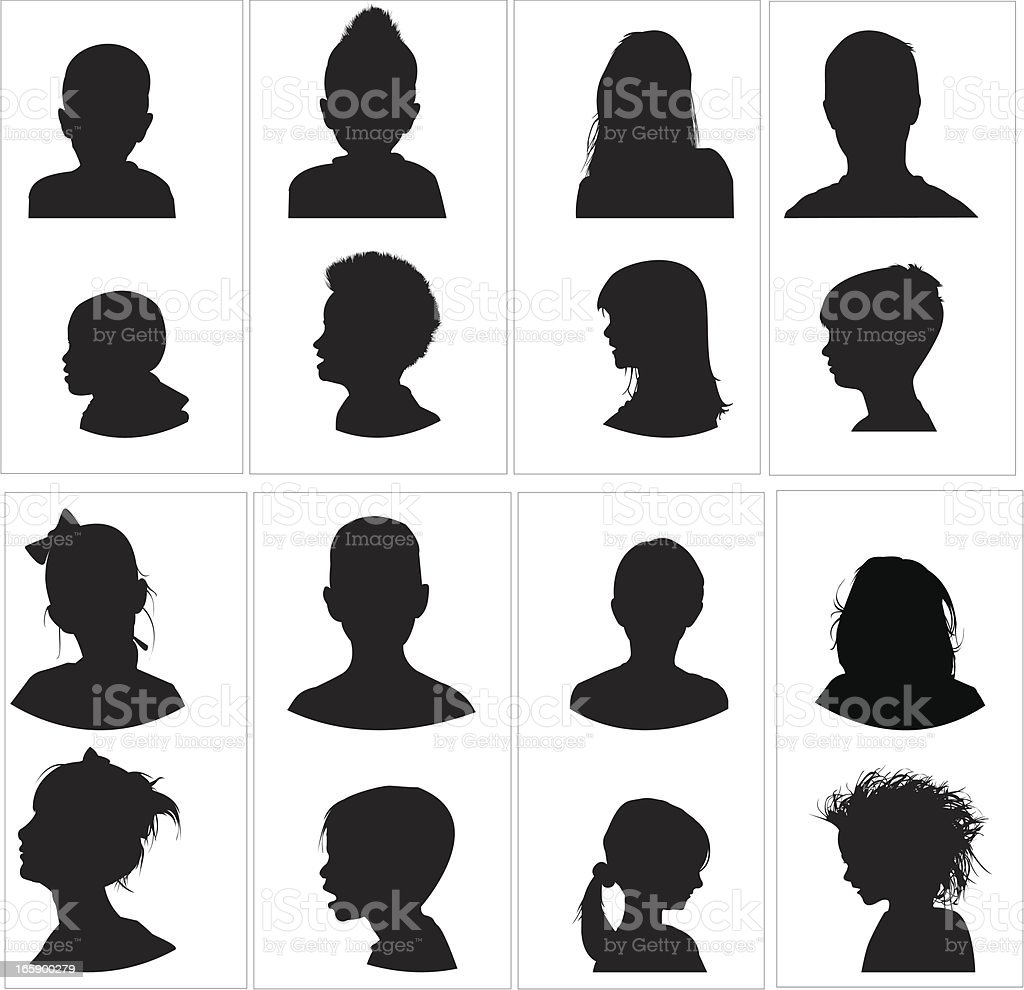 Children's heads  profile and front vector art illustration