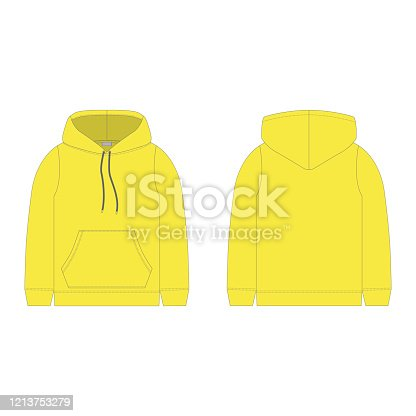 Children's hoodie in yellow color isolated on white background. Technical sketch hoody kids clothes. Vector fashion illustration.