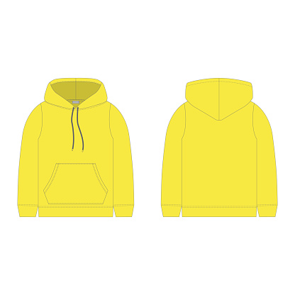 Children's hoodie in yellow color isolated on white background. Technical sketch hoody kids clothes.
