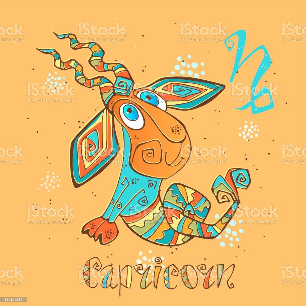 Children's horoscope icon. Zodiac for kids. Capricorn sign . Vector. Astrological symbol as cartoon character. Children's horoscope icon. Zodiac for kids. Capricorn sign . Vector. Astrological symbol as cartoon character. Animal stock vector