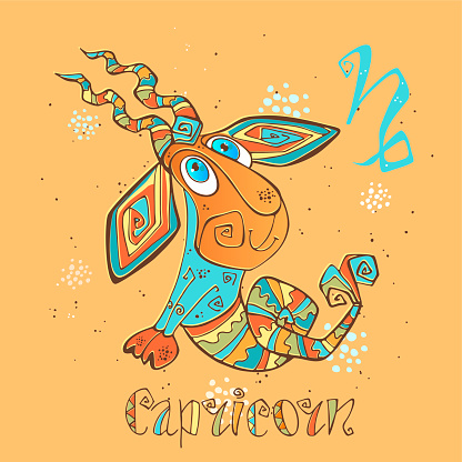 Childrens Horoscope Icon Zodiac For Kids Capricorn Sign Vector Astrological Symbol As Cartoon Character Stock Illustration - Download Image Now