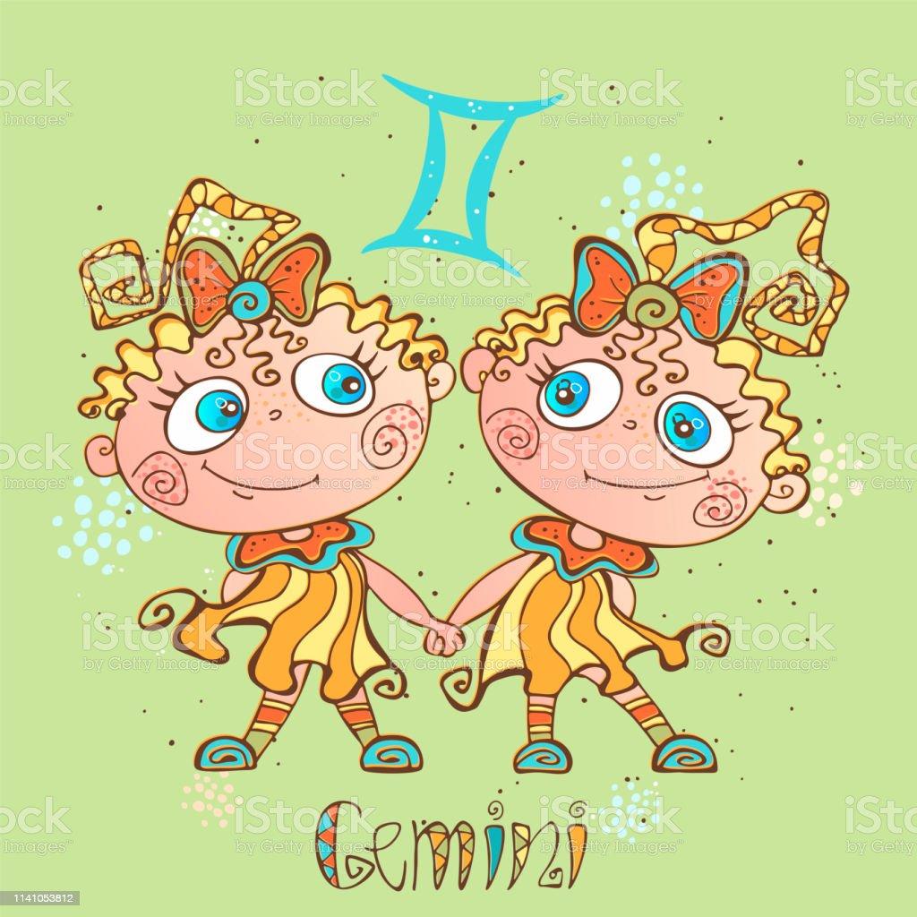 Childrens Horoscope Icon Zodiac For Kids Gemini Sign Vector