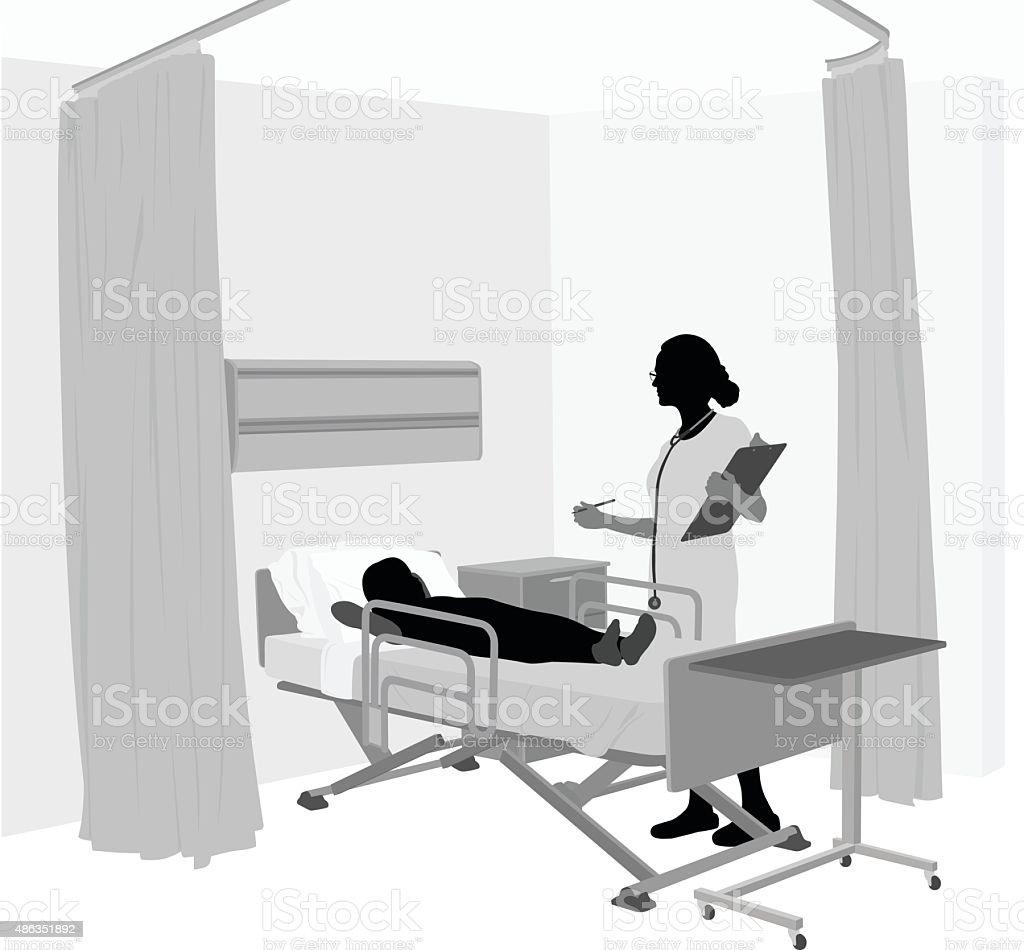 Children's Hospital Room With Female Doctor vector art illustration