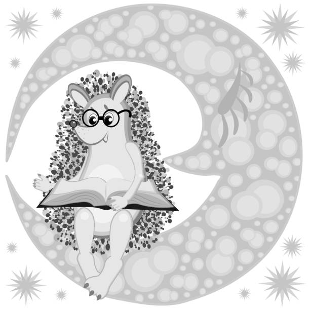 Bекторная иллюстрация Children's illustration, vector - hedgehog in glasses reads a book sitting on the moon