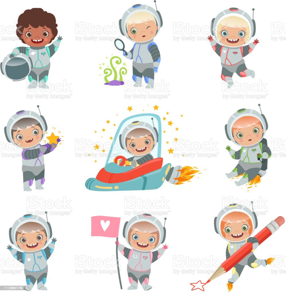 Childrens In Space Kids Astronauts Funny Vector Characters In Rocket