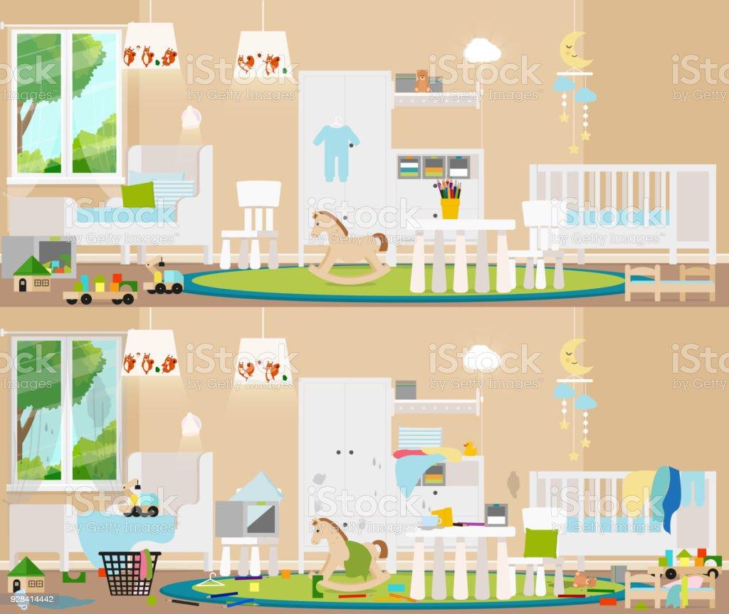 子どものインテリア完全な混乱とクリーン ルームの汚い雑然とした部屋