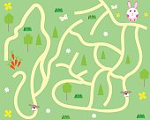 children's maze game to help bunny get carrots vector illustration
