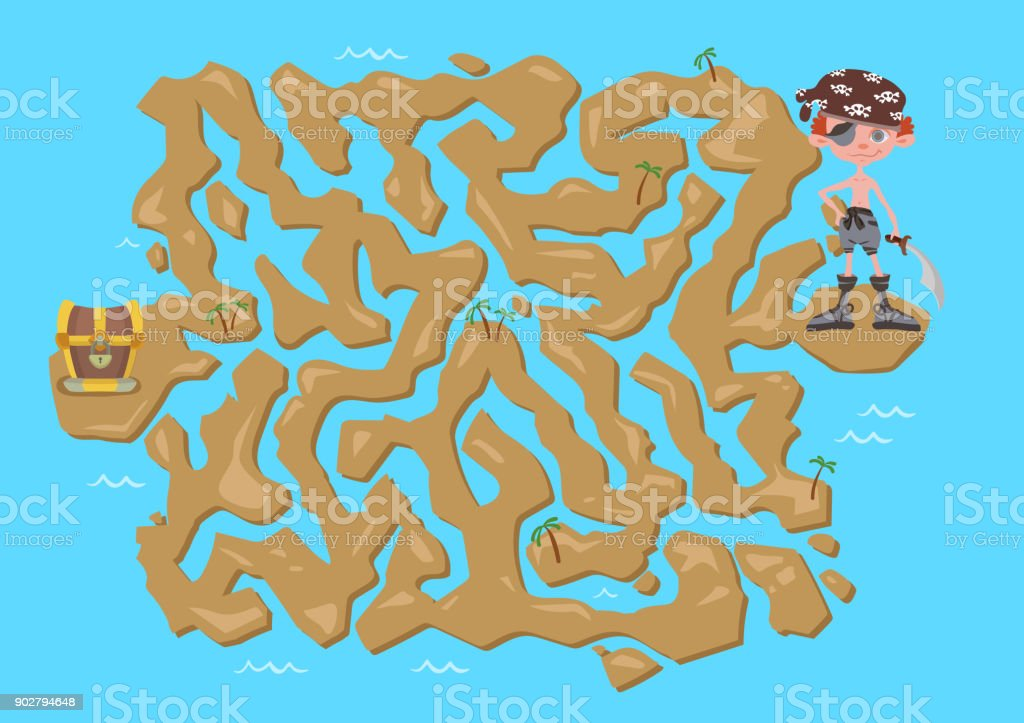 Mapa Del Tesoro Pirata Para Niños.Ilustracion De Laberinto De Los Ninos Mapa Del Tesoro Pirata