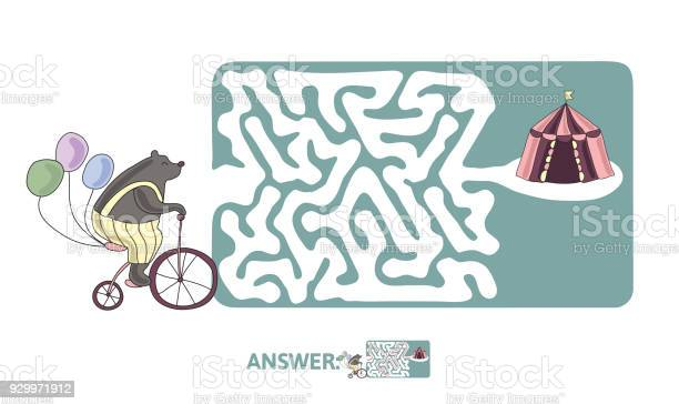 Childrens maze with bear on a bike and circus tent puzzle game for vector id929971912?b=1&k=6&m=929971912&s=612x612&h=0khsvg a7kxi 1ecwg8x kxr7mv1b6vqoceuzbja284=