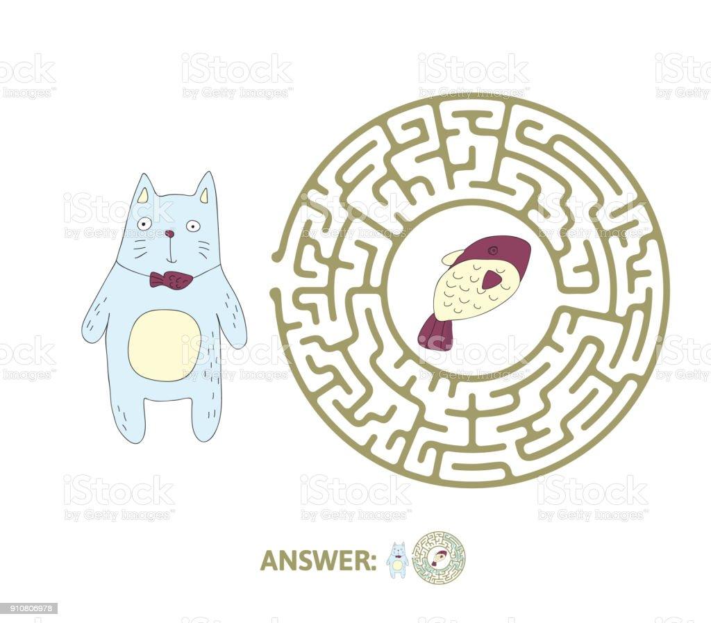 Ilustracion De Laberinto Infantil Con Gato Y Pescado Juego De Puzzle