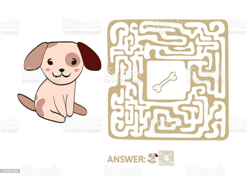 Kinder Labyrinth Mit Hund Und Knochen Puzzlespiel Für Kinder ...