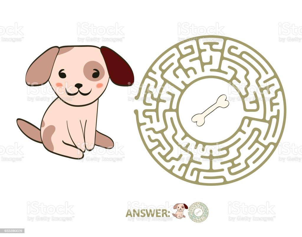 Labirinto infantil com o cão e o osso. Jogo de puzzle para crianças, vector a ilustração de labirinto. - ilustração de arte em vetor
