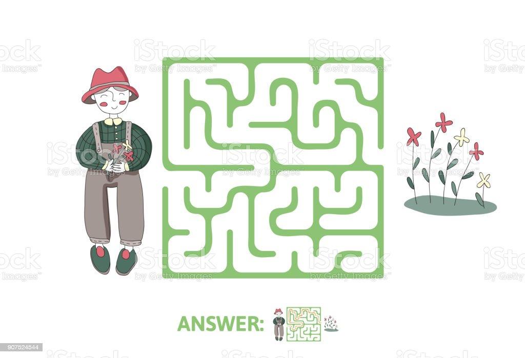 Ilustracion De Laberinto Infantil Con Flores Y Jardinero Juego De