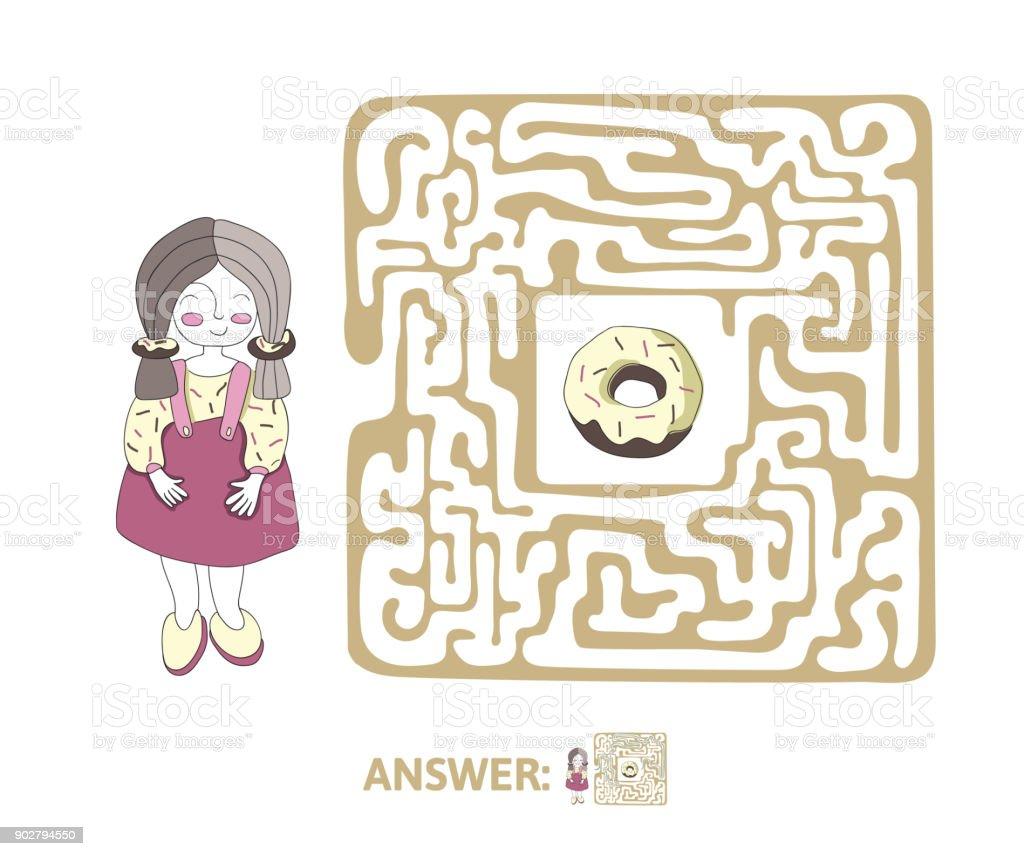 Ilustracion De Laberinto Infantil Con Nina Y Bunuelo Juego De Puzzle
