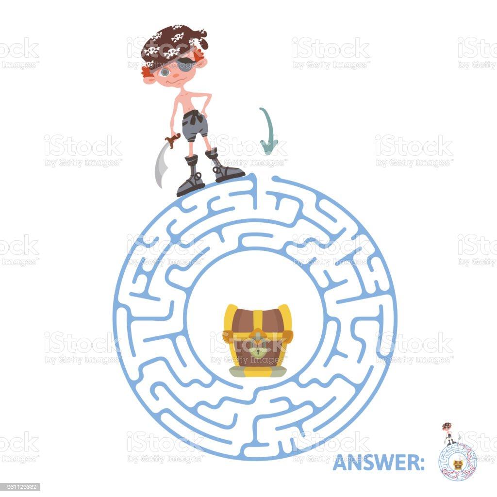 Korsan ve hazine ile çocuk labirent. Puzzle oyunu çocuklar için labirent illüstrasyon vektör. - Royalty-free 13 - 19 Yaş arası Vector Art