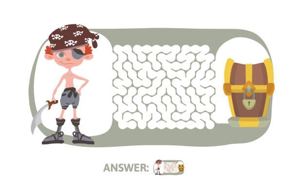kinder labyrinth mit piraten und schatz. puzzle-spiel für kinder, vektor-illustration labyrinth. - entdeckungskiste stock-grafiken, -clipart, -cartoons und -symbole