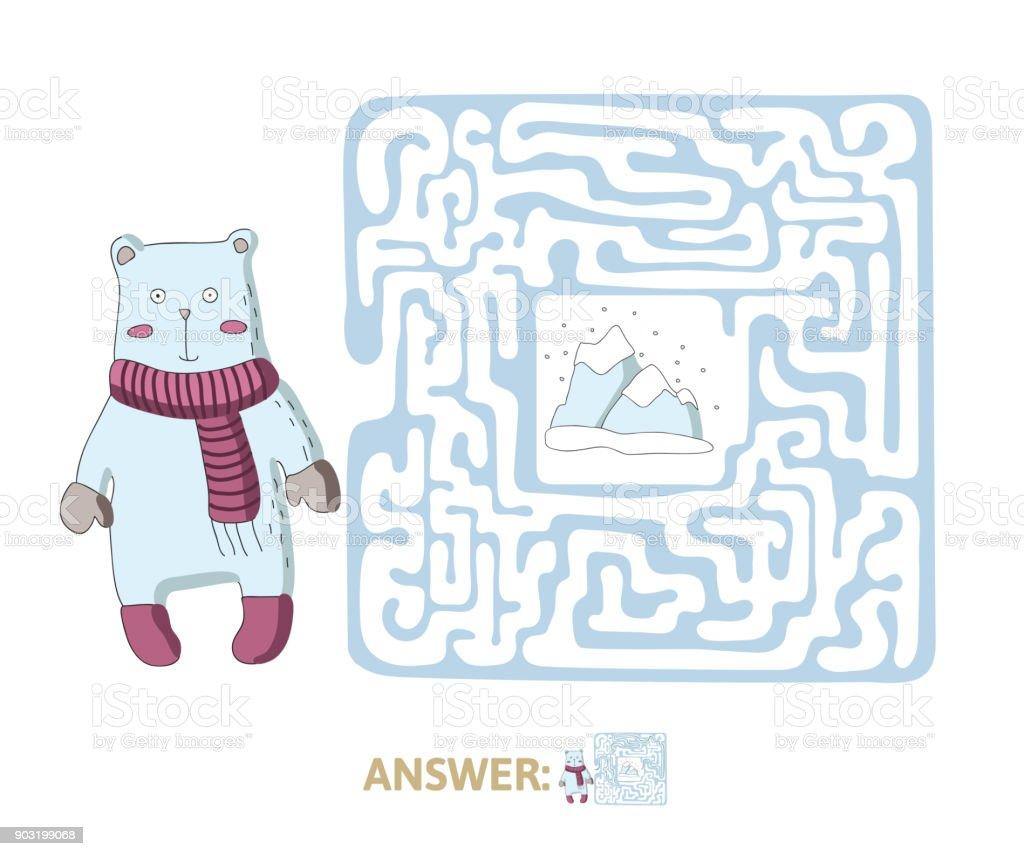 Ilustracion De Laberinto Infantil Con Oso Polar Y El Polo Norte