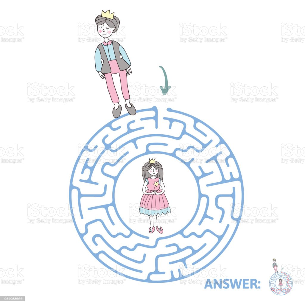 Childrens Maze With Prince And Princess Puzzle Game For Kids Vector Labyrinth Illustration