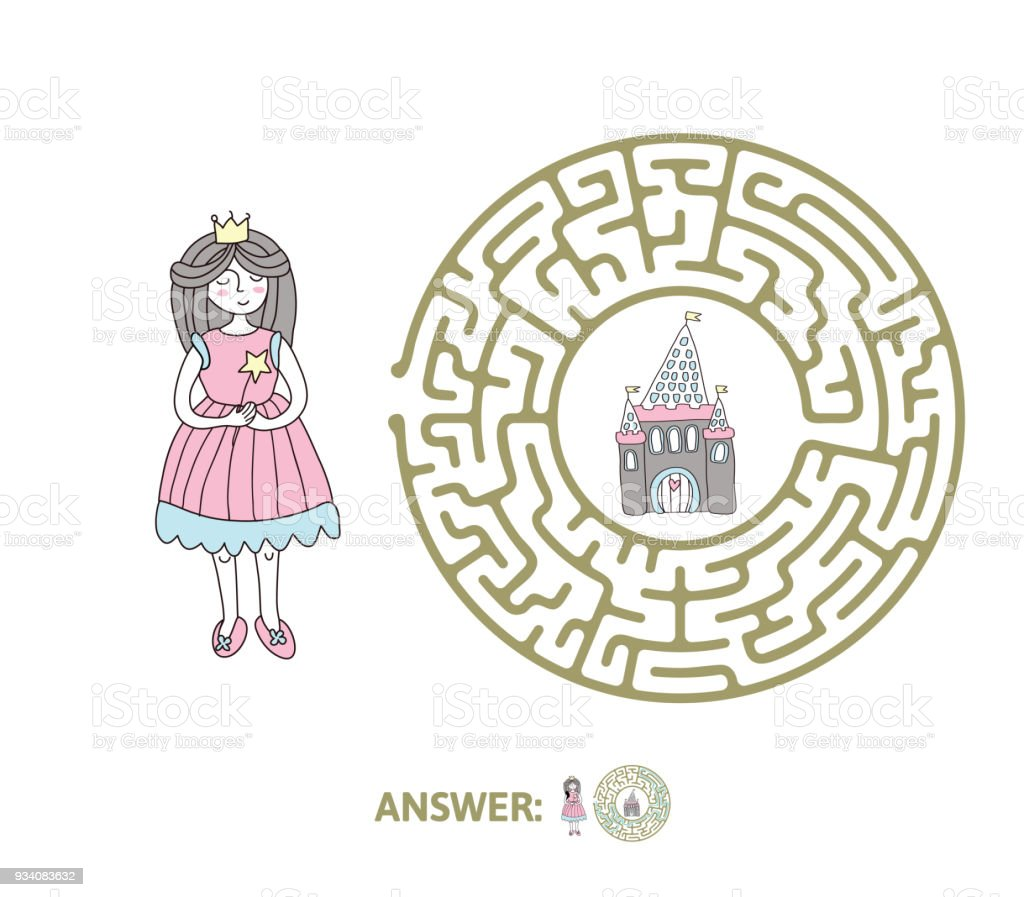 Childrens Maze With Princess And Fairytale Castle Puzzle Game For Kids Vector Labyrinth Illustration