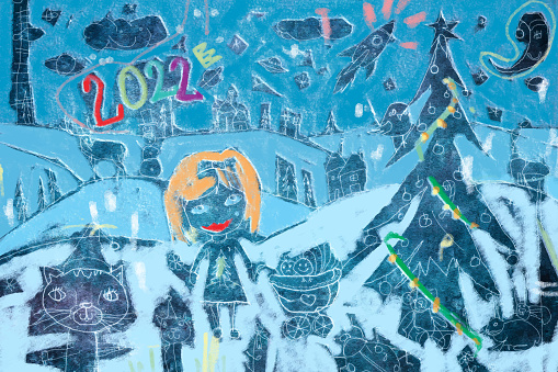 Children's New Year's greeting card drawing