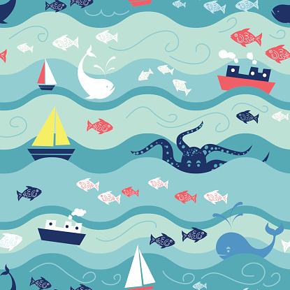 Childrens Ocean Life Seamless Repeating Pattern
