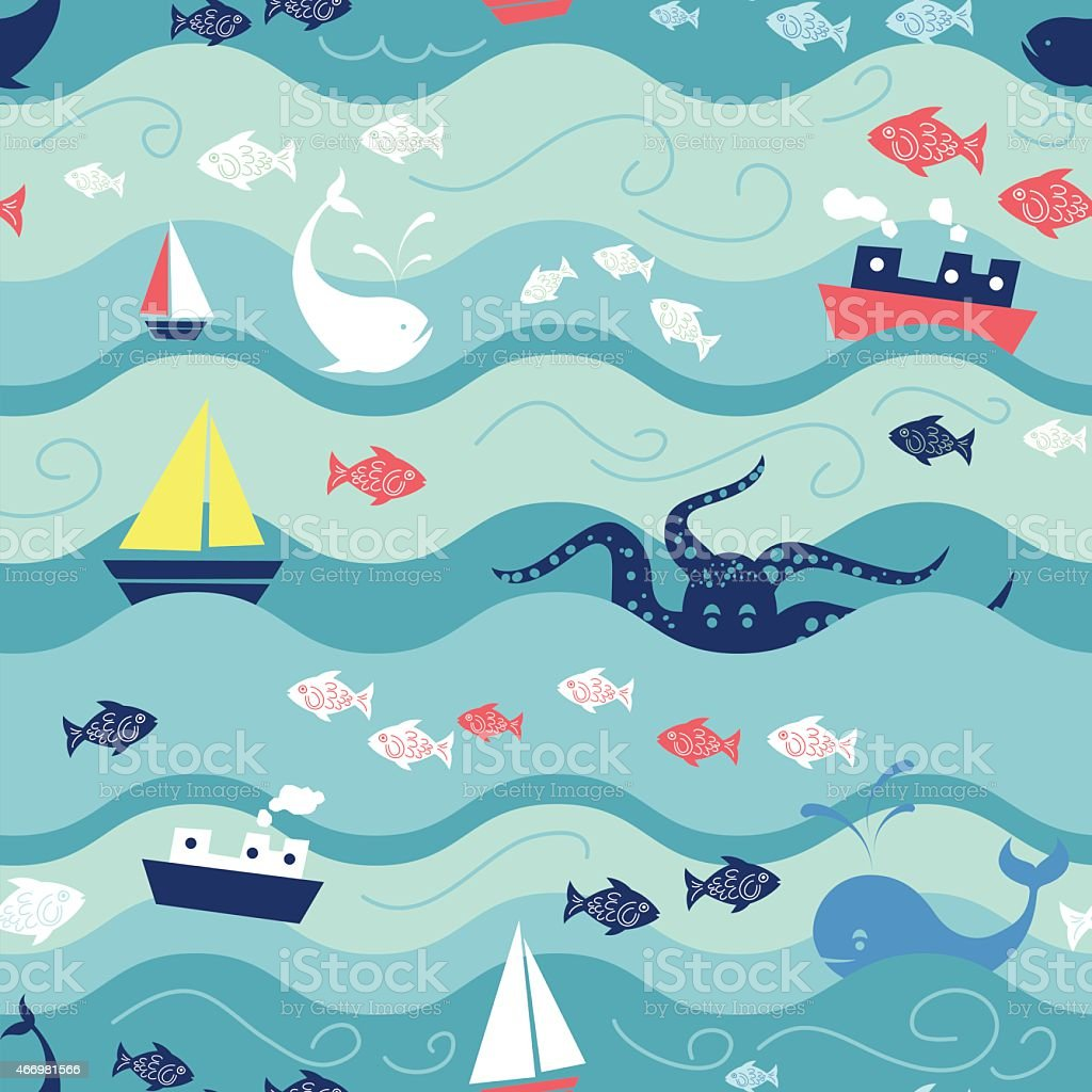 Childrens Ocean Life Seamless Repeating Pattern vector art illustration