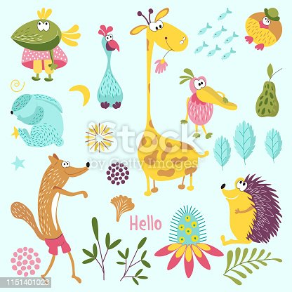 Set of forest animals. Sly Fox, hedgehog, Mr. bird, Pelican, rabbit, crow, giraffe, flower. Suitable for children's room decoration, book, cloth, postcard