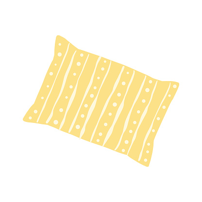 Children's pillow for sleeping in yellow with a pattern. Cartoon vector