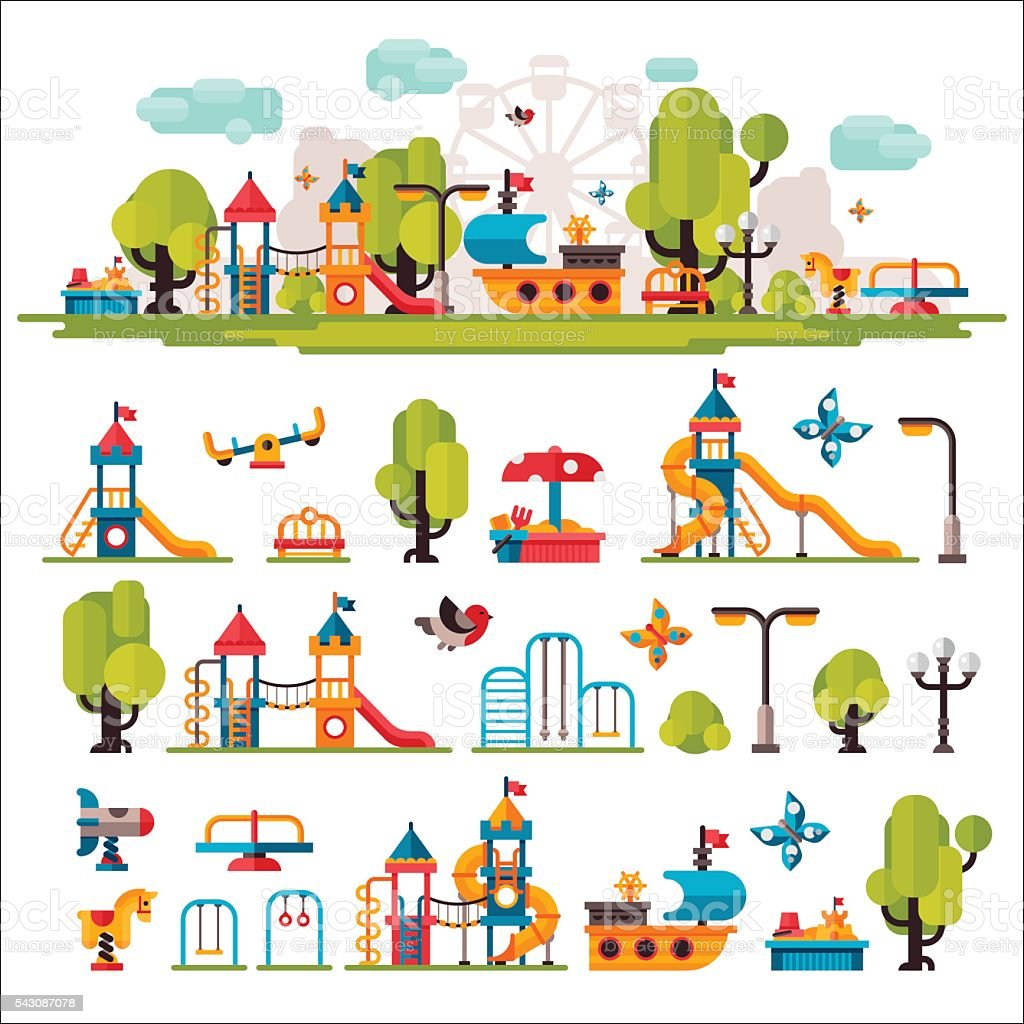 Childrens Playground drawn in a flat style vector art illustration