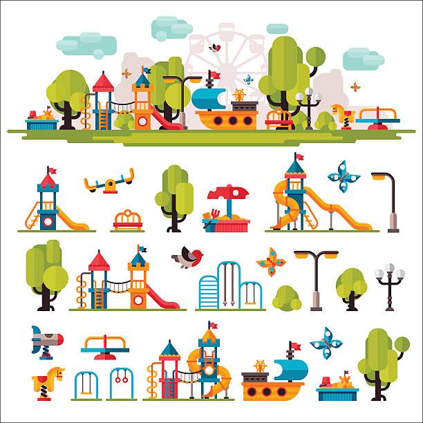 bildbanksillustrationer, clip art samt tecknat material och ikoner med childrens playground drawn in a flat style - förskolebyggnad