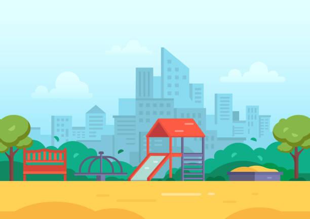 children's playground in a big city - modern vector illustration - recess stock illustrations, clip art, cartoons, & icons