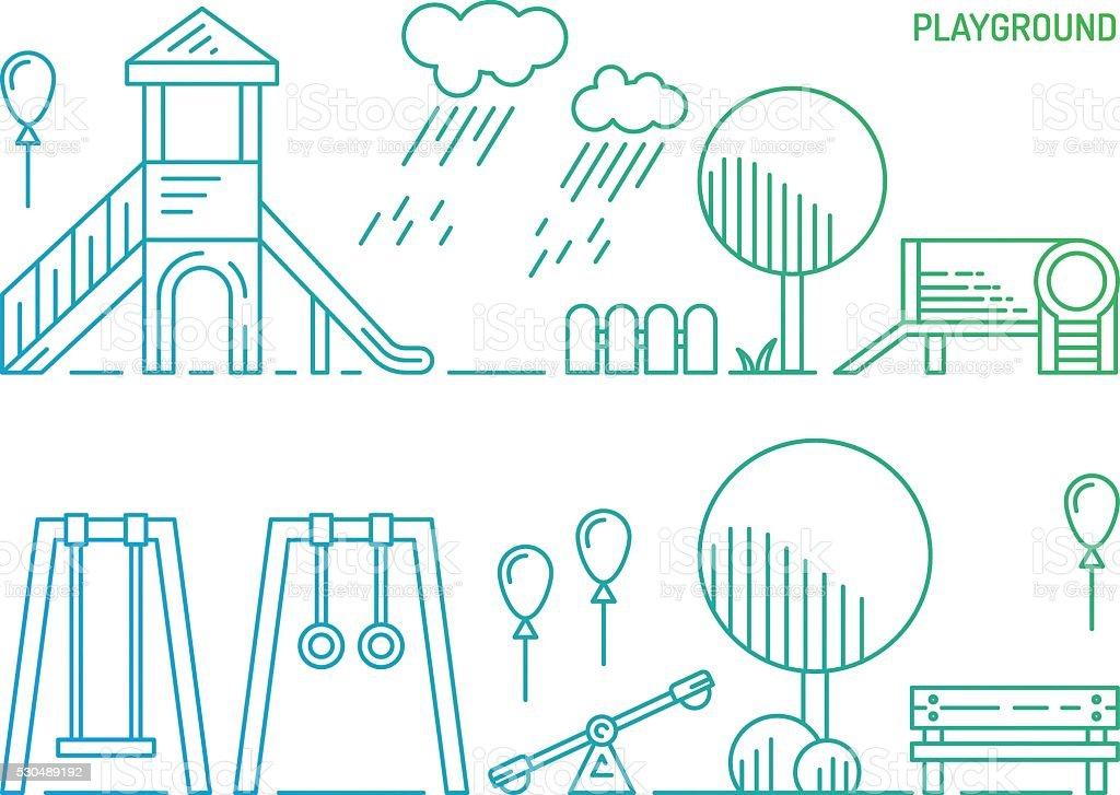 Patio de juegos para niños jardines de infancia jugando - ilustración de arte vectorial