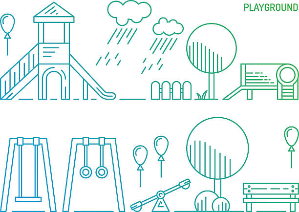 children's playground kindergarten - recess stock illustrations, clip art, cartoons, & icons