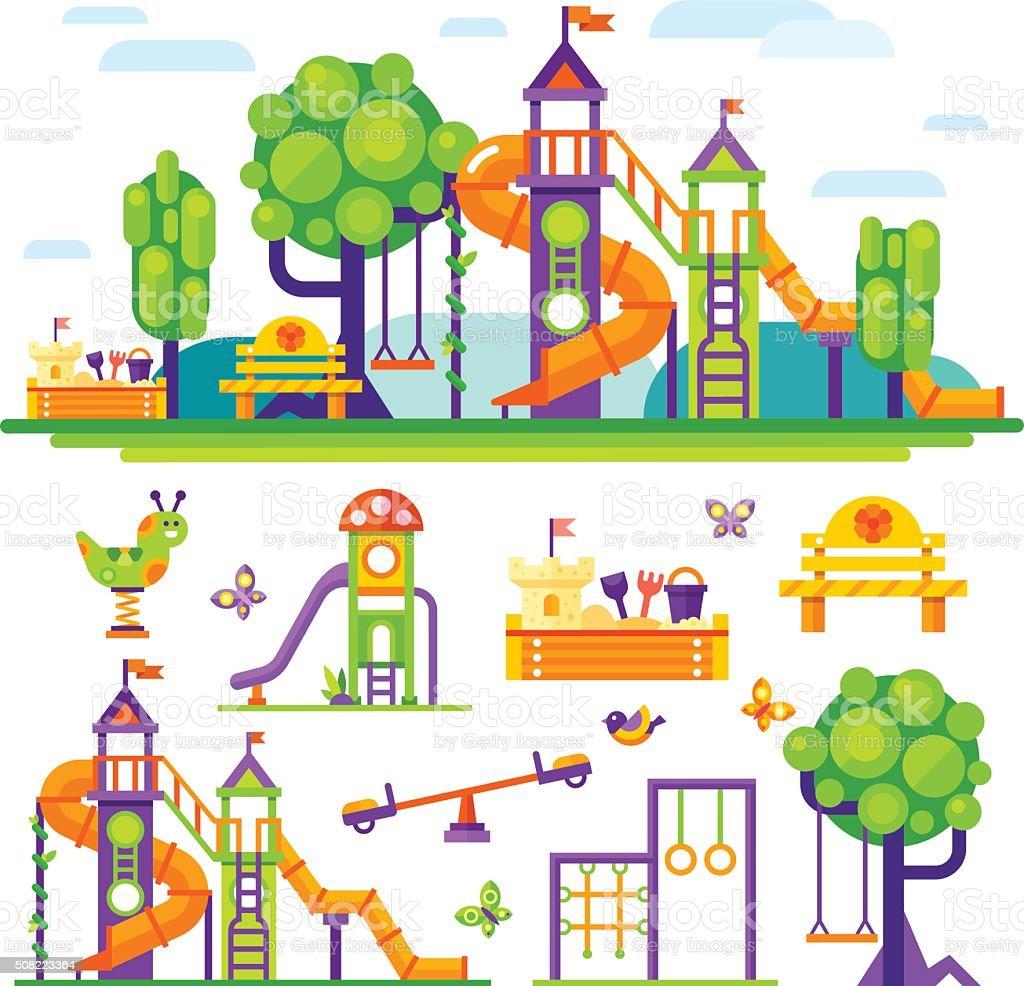 Zona juegos para niños. - ilustración de arte vectorial