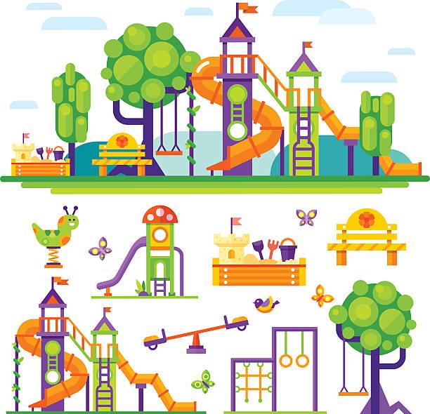 children's playground. - recess stock illustrations, clip art, cartoons, & icons