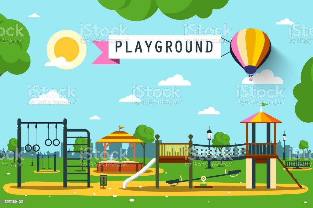 Patio de juegos para niños - ilustración de arte vectorial