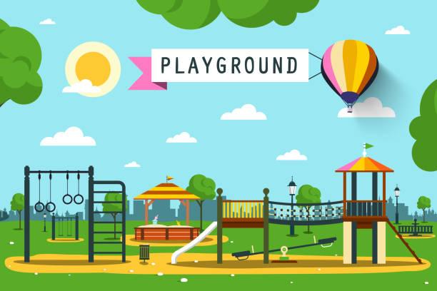 children's playground - recess stock illustrations, clip art, cartoons, & icons