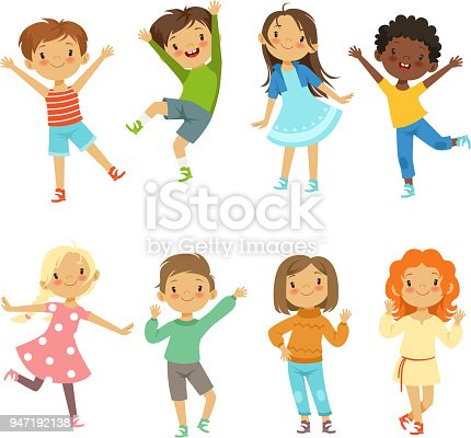 istock Childrens playing. Vector funny characters isolate on white 947192138