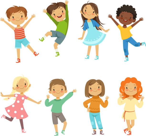 kinder spielen. vektor lustige charaktere zu isolieren, auf weiß - kind stock-grafiken, -clipart, -cartoons und -symbole