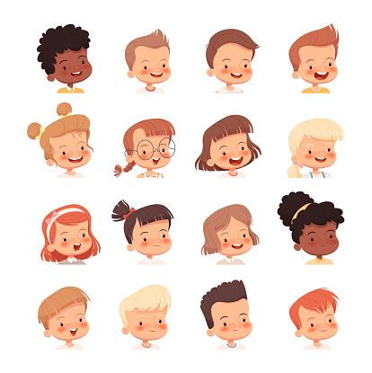 Children's portraits for avatars. Heads of boys and girls