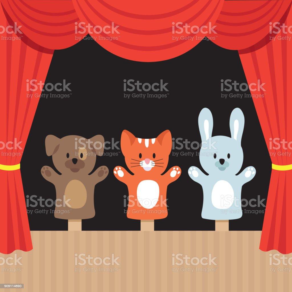 귀여운 동물 및 빨간 커튼으로 어린이 꼭두각시 극장 장면. 만화 벡터 일러스트 레이 션 - 로열티 프리 Premiere 벡터 아트