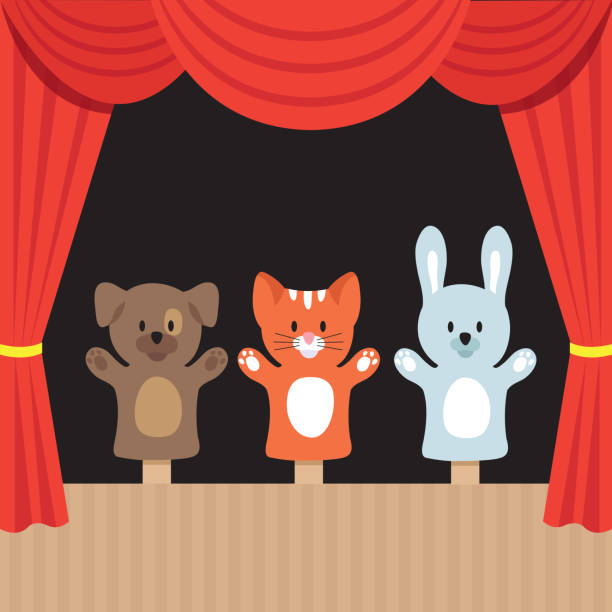 childrens puppet theater scene with cute animals and red curtain. cartoon vector illustration - kukiełka stock illustrations