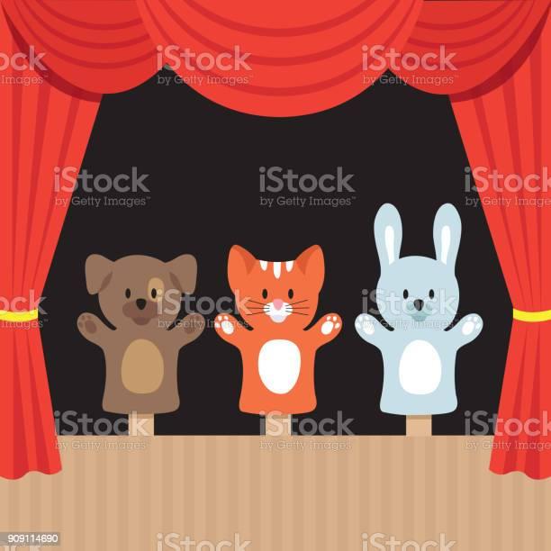 귀여운 동물 및 빨간 커튼으로 어린이 꼭두각시 극장 장면 만화 벡터 일러스트 레이 션 Premiere에 대한 스톡 벡터 아트 및 기타 이미지